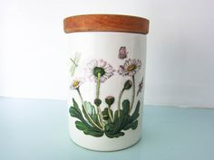Portmeirion, Botanic Garden, Daisy pattern, storage jar, lidded pot, storage canister, vintage pot, cottage chic, country kitchen by thevintagemagpie01 on Etsy