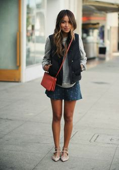 what-do-i-wear:  Skirt: MissguidedSweater: Robert RodriguezPuffer: GapFlats: Valentino (image: sincerelyjules)
