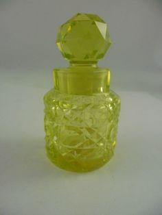 Antique Art Deco Citrene Uraninum Glass Cut Glass Faceted Scent Perfume bottle | eBay