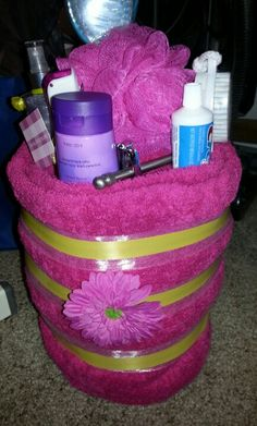 """Graduation gift with bath towel, for my """"sunshine girl"""" at graduation party in prep for college. http://www.regaletes.com/"""