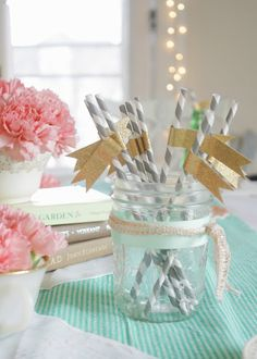 grey striped straws and pastels - so great for Spring!