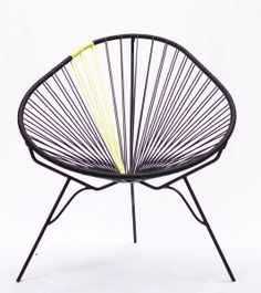 Acapulco Chair, Black with Yellow rubber cord