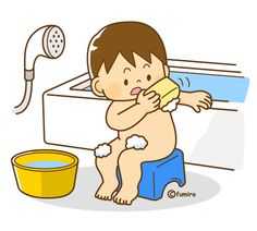 お風呂で体を洗う男の子のイラスト(ソフト)