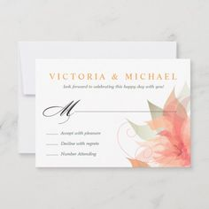 Beautiful Wedding Invitations, Wedding Rsvp, Wedding Invitation Sets, Response Cards, Orange Flowers, Abstract Watercolor, Color Themes, Happy Day, Paper Texture