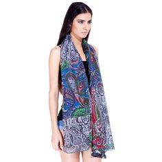 Constructed of 100-percent rayon, this feminine summer scarf feels soft against the skin and features a multicolored paisley print for versatile wear. Hand-crafted by artisans in India, this trendy, all-purpose scarf is sure to accentuate any outfit.