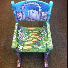 Secret garden rocker, one of twenty-five soon to be hand painted chairs for a fundraiser in April, Hand Painted Chairs, Painted Stools, Hand Painted Furniture, Funky Furniture, Art Furniture, Repurposed Furniture, Furniture Makeover, Painting Upholstery Fabric, Rustic Bedroom Furniture