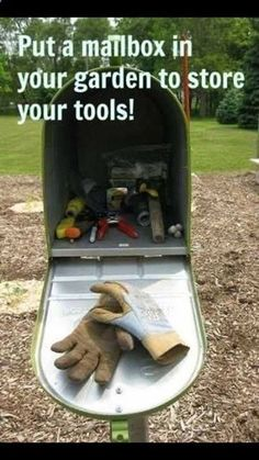 Save your time and money and stop finding the gardening tools you misplace by trying one of these clever DIY Garden Tool Storage Ideas! Diy Garden, Garden Projects, Garden Tools, Mailbox Garden, Spring Garden, Garden Pests, Kids Mailbox, Garden Gadgets, Mailbox Ideas