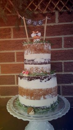 Woodland 1st birthday - naked cake. Homemade for my son Harrison. trendy family must haves for the entire family ready to ship! Free shipping over $50. Top brands and stylish products