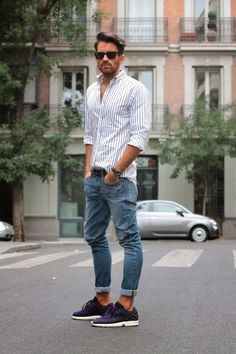 Jeans, striped shirt and black sunglasses Cool!