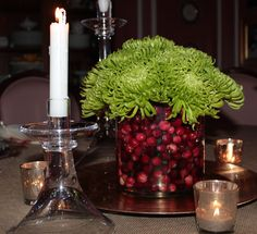 green spider mums & fresh cranberries create a festive Holiday centerpiece that is easy & inexpensive to make!IMG_4219