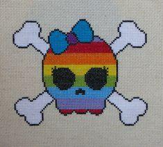 Rainbow Skull and Bones Cross Stitch Pattern por HanksPatternPlace