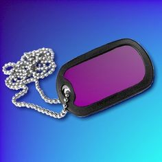 Purple Aluminium Dog-Tag With Chain and Silencer