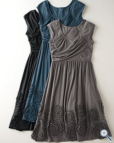 Garnet Hill Rosette Knit Dress-love this! n My friend works for Garnet Hill wonder if she could hook me up! Black Party Dresses, Fall Dresses, Work Dresses, Comfy Dresses, Summer Dresses, Pretty Outfits, Pretty Dresses, Knit Dress, Dress Up