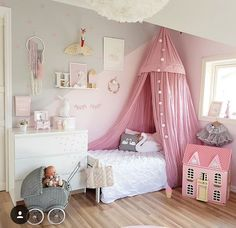 Pink Princess Bed Canopy, Pink and Gray Girly Bedroom