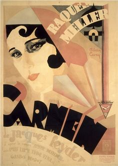 Movie poster by Alain Cuny, 1926, Carmen by Jacques Feyder.