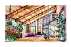 House interior design sketch 62 new Ideas Interior Architecture Drawing, Interior Design Renderings, Interior Design Process, Drawing Interior, Interior Rendering, Interior Sketch, Home Interior Design, Architecture Design, Interior Colors