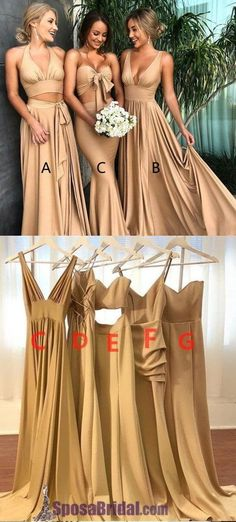 5200c35e071f 2019 A-line Elegant Sexy V Neck Gold Long Modest Bridesmaid Dresses with Side  Slit