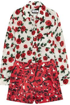 Moschino Rose-print silk and cotton-blend playsuit