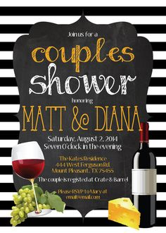 Italian Food CHALKBOARD WINE and CHEESE Couples Wedding Bridal Shower black white stripes grapes wine cheese wine tasting winery birthday graduation surprise party invite invitation by MolsDesigns