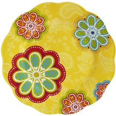 Pier 1 Imports Multi-colored Sunny Floral Melamine Dinner Plate ($6.95) ❤ liked on Polyvore featuring home, kitchen & dining, dinnerware, multicolor, floral dinner plates, floral melamine dinnerware, melamine dinner plates, colorful dinnerware and melamine dinnerware