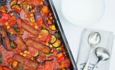 Roast Vegetable, Veggie Sausage and Chickpea Bake. An easy vegan weeknight bake made in one roasting pan. Serve with mash or rice.