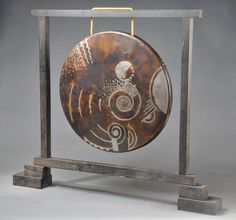 Jean Dunand Rare, Art Deco Gong in Geometric Dinanderie