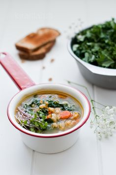 Spicy Gingered Chickpeas & Kale Soup
