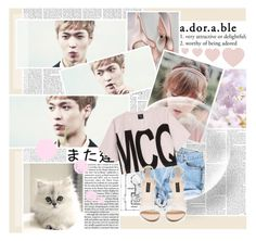 """""""A.dor.a.ble"""" by ne7-kc ❤ liked on Polyvore featuring McQ by Alexander McQueen, Forever New, Pink, light, short, EXO and lay"""