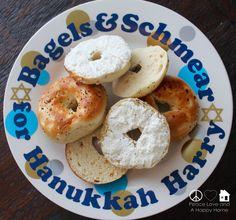 Hanukkah Plate, #bagels, #HanukkahHarry, #BagelsandSchmear