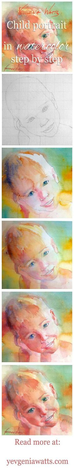 Elijah portrait study step by step — Art by Yevgenia Watts Watercolor Video, Watercolour Tutorials, Watercolor Techniques, Watercolour Painting, Painting Techniques, Painting & Drawing, Painting Lessons, Art Lessons, Painting People