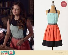 Aria's blue and orange apron on Pretty Little Liars.  Outfit Details: http://wornontv.net/36583/ #PLL