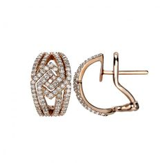 The London Collection Rose Gold Diamond Clip Earrings