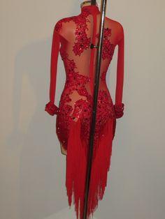 Red Latin dress with fringe