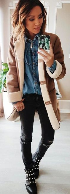 #winter #outfits brown and white coat
