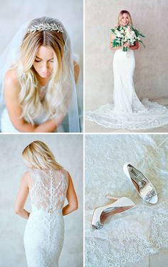 Lauren Conrad wore a couture sleeveless gown by Badgley Mischka that was draped in delicate lace and embroidered with crystals, pearls and baby glass beads. Lauren glittered from head to toe, donning a veil cinched by a vintage-style headpiece as well as jeweled open-toe pumps