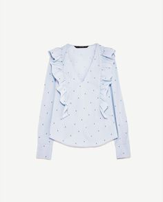 6e9ffdad396282 Image 8 of FRILLED V-NECK BLOUSE from Zara Blouse Zara