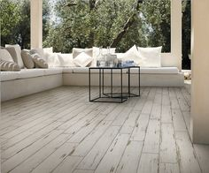 Painted White 150x900mm. Wood grain porcelain tile with a distressed painted effect. You won't believe it's porcelain!