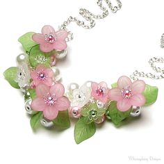 Springtime Love Pastel Pink & Green Floral Charm Necklace, Spring Flower Cluster Silver Necklace, Soft Pastel Colors, Romantic Gift for Her on Etsy, $42.00