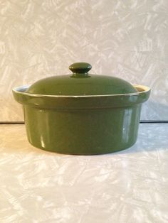 Vintage HALL Casserole Baker with Lid Dark Green Covered Dish Hall's Superior KitchenWare USA by ThePinkVintageRose on Etsy