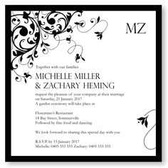 Budget Wedding Invitations & Stationery - Template Invitation Wedding Black Flourish