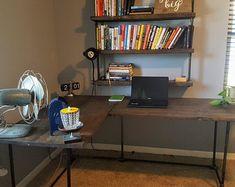 Pipe Desk with shelves Rustic Desk Industrial Pipe Desk | Etsy
