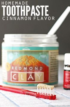 Homemade cinnamon toothpaste!! This homemade toothpaste is remineralizing, made with clay and it cleans and whitens my teeth so much better than Colgate ever did. I've sworn off store-bought toothpaste for the past two years and my dentist says my teeth and gums are the healthiest he's ever seen! Simple DIY for making your own homemade toothpaste. :: DontWastetheCrumbs.com