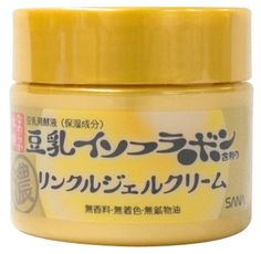 Namerakahonpo SANA Wrinkle Gel Cream, an all-in-one Japanese anti-aging cream for women in their 30s. Contains 5 essential skincare needs in one: hydrating lotion, serum, moisturizing milk, cream, and face pack. Contains a blend of soy isoflavones and retinyl palmitate to soften, firm, and plump up skin. It also contains soy extract, collagen and ceramide, which provide the skin the much needed moisture.
