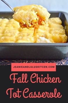 Fall Chicken Tot Casserole with veggie tots Easy Dinner Recipes, Great Recipes, Easy Meals, Dessert Recipes, Favorite Recipes, Fancy Recipes, Breakfast Recipes, Potato Recipes, Soup Recipes