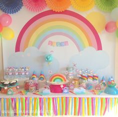 Free Frozen Party Printables - One Charming Day Sweet Table Decorations, Rainbow Party Decorations, Girl Birthday Decorations, Kids Party Themes, Rainbow Birthday Party, Unicorn Birthday Parties, First Birthday Parties, First Birthdays, Anniversaire My Little Pony