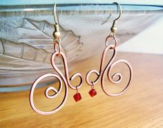Wire Wrapped Spiral Earrings oldlooking Copper by GearsFactory, €14.00