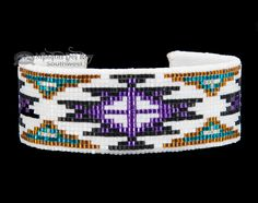 This is an authentic Native American cuff bracelet. Created with intricate hand beading on a flexible band, this traditional Navajo jewelry is very well made. With a hand stitched cloth backing on the Native Beading Patterns, Bead Crochet Patterns, Beadwork Designs, Bead Embroidery Patterns, Embroidery Bracelets, Beaded Embroidery, Native Beadwork, Knitting Patterns, Indian Beadwork