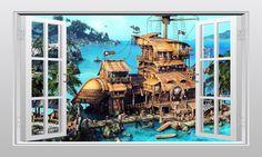 Pirate ship and secret cove 3D Window Scape Graphic Art Mural Wall Sticker