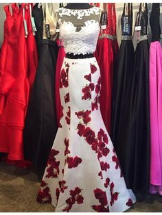2017 prom dresses, two piece prom dresses, flower