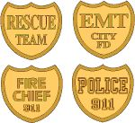 9 11 heroes badges - fire chief, police, emt, rescue team free graphics